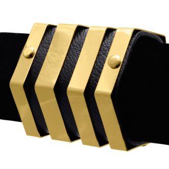 Black Vegan Leather Geometric Bangle Cuff