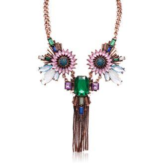 Emerald, Aqua and Amethyst Fantasy Necklace