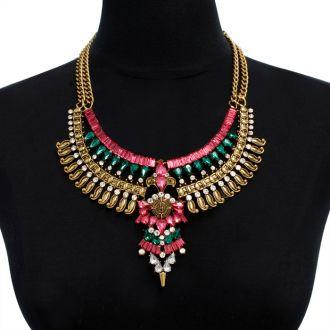 Pink, Emerald and Crystal Atlantis Bib Necklace
