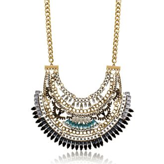 Created Opal, Onyx and Aqua Crystal Bib Necklace