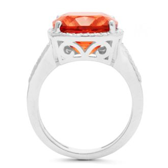 5ct Cushion Cut Created Padparadscha Sapphire and Diamond Ring