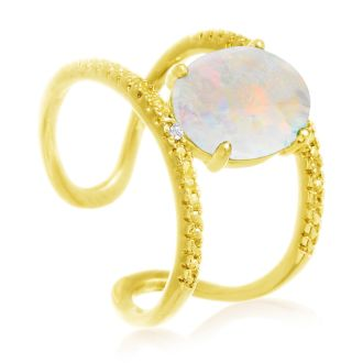 3 Carat Opal and Diamond Open Shank Ring In 14 Karat Yellow Gold Over Sterling Silver