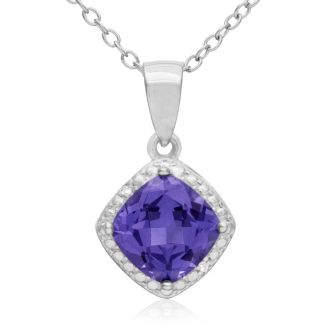 1.75ct Cushion Cut Created Tanzanite and Diamond Necklace