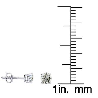 1/2ct Diamond Stud Earrings in 14k White Gold with FREE Matching Diamond Pendant!