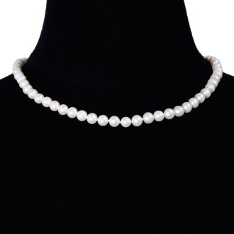16 Inch 7mm AAA Hand Knotted Pearl Necklace, 14k Yellow Gold Clasp
