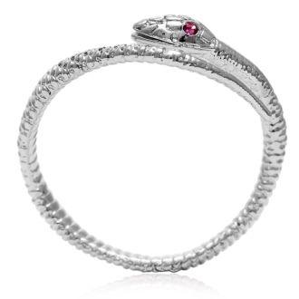 Red Crystal Snake Wrap Ring