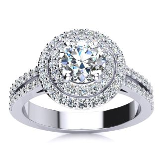 1 1/2 Carat Double Halo Round Diamond Engagement Ring in 14K White Gold
