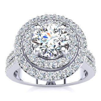 2 Carat Double Halo Round Diamond Engagement Ring in 14K White Gold