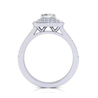 1 1/2 Carat Double Halo Cushion Cut Diamond Engagement Ring in 14 Karat White Gold