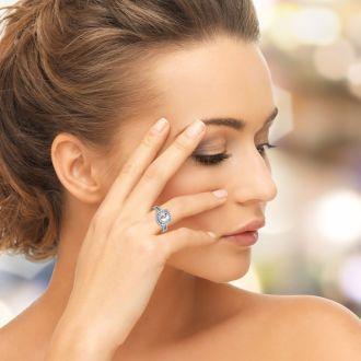 2 Carat Double Halo Cushion Cut Diamond Engagement Ring in 14 Karat White Gold