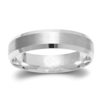 5mm Beveled Band with Brushed Top  in Solid White Gold