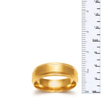 6.5mm Mens and Ladies Brush Center Finished Wedding Band in 14 Karat Yellow Gold