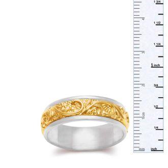 7.5mm Two-Tone Mens and Ladies Filigree Wedding Band In 14 Karat Gold
