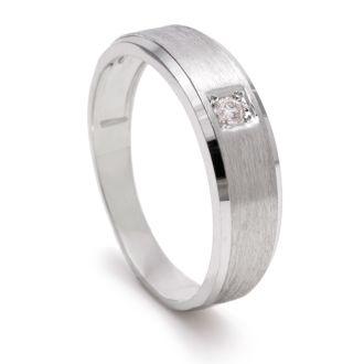 6mm Mens Diamond Wedding Band in White Gold