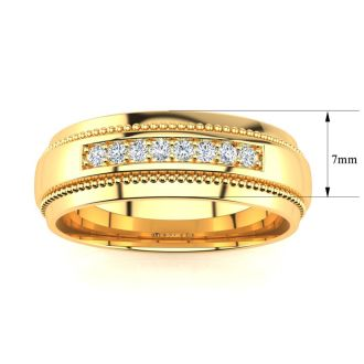 7mm Diamond Mens Satin Finished Milgrain Wedding Band in Yellow Gold