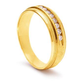 7mm .25ct Diamond Mens Satin Finished Milgrain Wedding Band in Yellow Gold