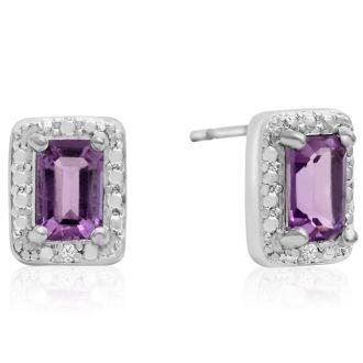 1ct Amethyst and Diamond Halo Earrings