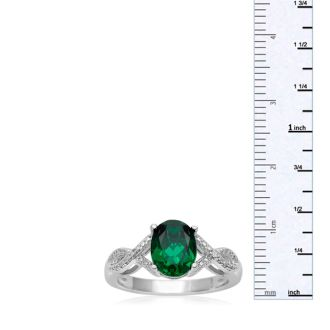 2 1/2 Carat Oval Shape Emerald and Diamond Infinity Ring