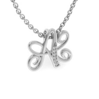 Diamond Initial Necklace, Letter A In Serif Style, White Gold