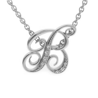 Diamond Initial Necklace, Letter B In Serif Style, White Gold