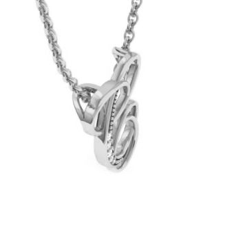Letter C Diamond Initial Necklace In White Gold With 6 Diamonds