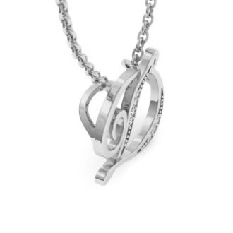 Diamond Initial Necklace, Letter D In Serif Style, White Gold