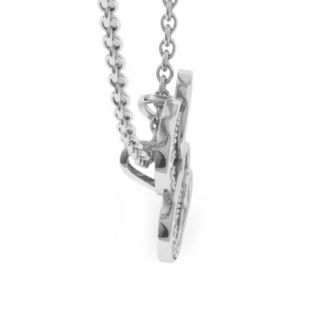Diamond Initial Necklace, Letter E In Serif Style, White Gold
