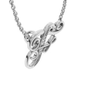 Letter F Diamond Initial Necklace In White Gold With 6 Diamonds