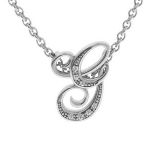 Diamond Initial Necklace, Letter G In Serif Style, White Gold