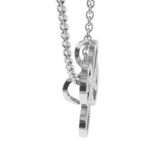 Diamond Initial Necklace, Letter H In Serif Style, White Gold