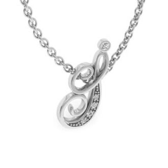 Diamond Initial Necklace, Letter I In Serif Style, White Gold