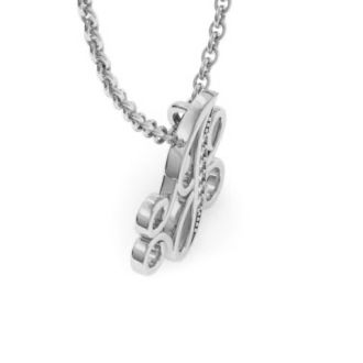 Diamond Initial Necklace, Letter J In Serif Style, White Gold