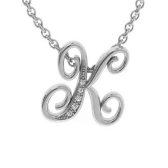 Diamond Initial Necklace, Letter K In Serif Style, White Gold