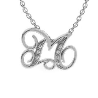 Diamond Initial Necklace, Letter M In Serif Style, White Gold