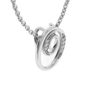 Diamond Initial Necklace, Letter O In Serif Style, White Gold