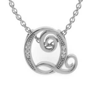 Diamond Initial Necklace, Letter Q In Serif Style, White Gold