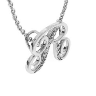Diamond Initial Necklace, Letter R In Serif Style, White Gold