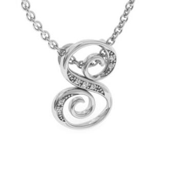 Diamond Initial Necklace, Letter S In Serif Style, White Gold