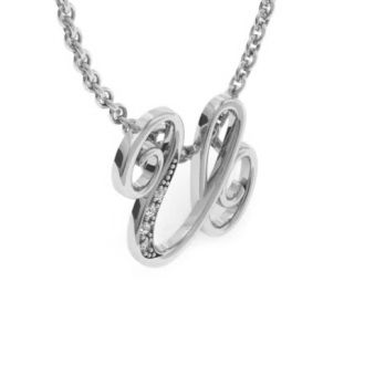 Diamond Initial Necklace, Letter U In Serif Style, White Gold