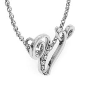 Diamond Initial Necklace, Letter V In Serif Style, White Gold