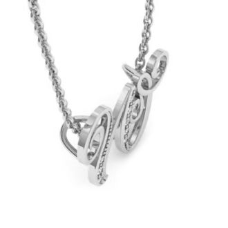 Letter W Diamond Initial Necklace In White Gold With 6 Diamonds