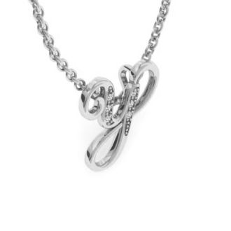 Diamond Initial Necklace, Letter Y In Serif Style, White Gold