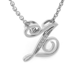 Diamond Initial Necklace, Letter Z In Serif Style, White Gold