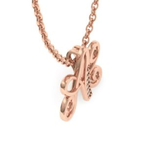 Diamond Initial Necklace, Letter A In Serif Style, Rose Gold