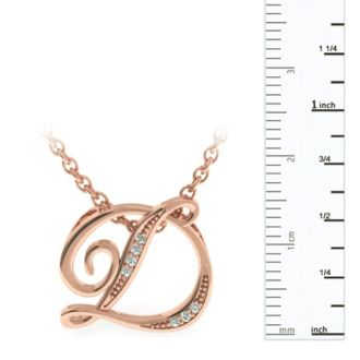 Letter D Diamond Initial Necklace In Rose Gold With 6 Diamonds