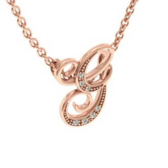 Diamond Initial Necklace, Letter G In Serif Style, Rose Gold