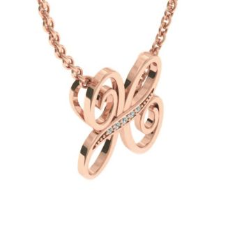 Diamond Initial Necklace, Letter H In Serif Style, Rose Gold