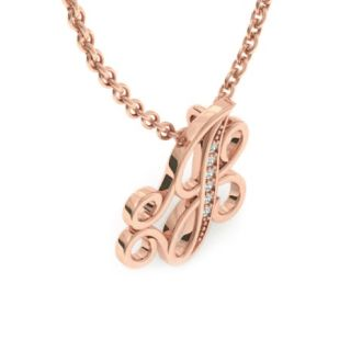 Diamond Initial Necklace, Letter J In Serif Style, Rose Gold