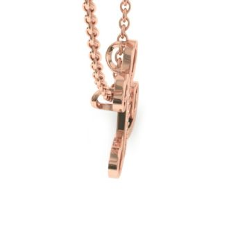Diamond Initial Necklace, Letter L In Serif Style, Rose Gold