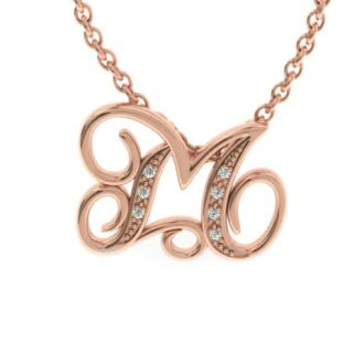 Diamond Initial Necklace, Letter M In Serif Style, Rose Gold